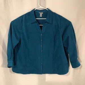 Catherines Plus Size 3X Shirt Faux Suede Blue 639